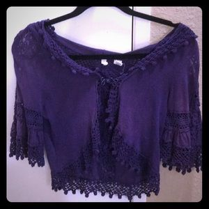 Anthropology laced purple hooded cardigan